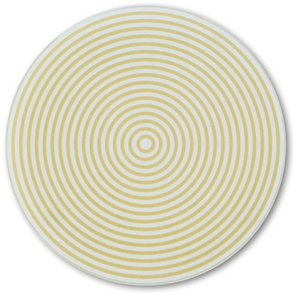 Concentric Circles Yellow Glass Coaster